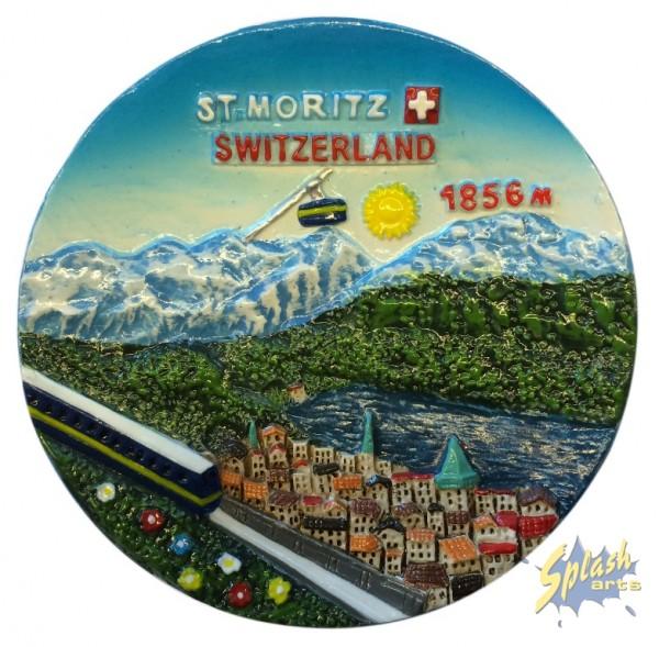 St. Moritz rund Magnet