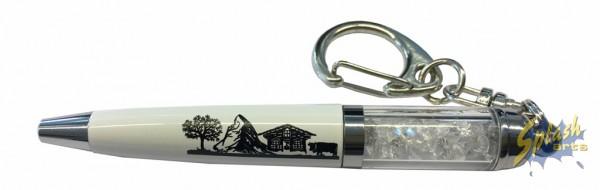 Kugelschreiber Scherenschnitt Schlüsselanhänger weiss