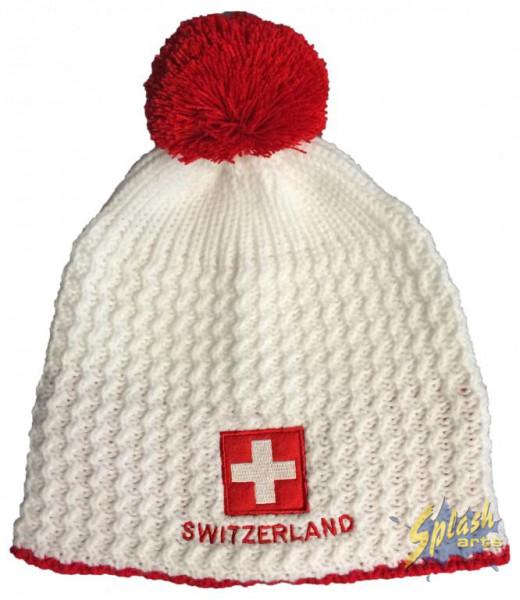 Mütze Switzerland weiss