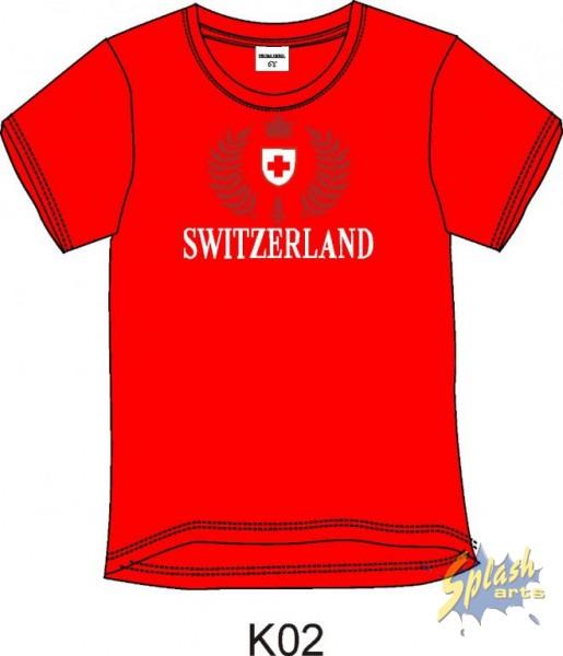 T-Shirt Boy T/T Switzerland Stick rouge -4Y
