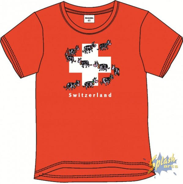Kids Print Kuh Parade Rot-4Y