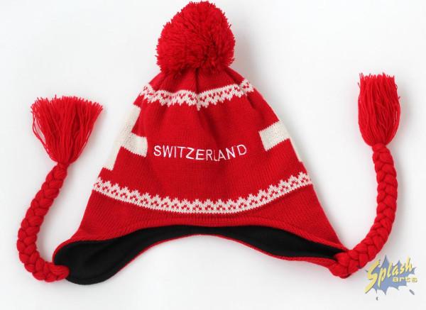 winter Hat Switzerland cross red
