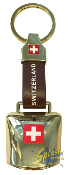 Swiss real bell key ring brown