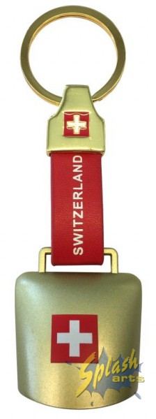 Swiss real bell key ring gold